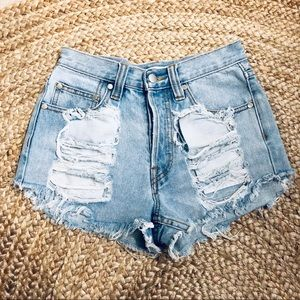 Minkpink slasher flick distressed denim shorts XS